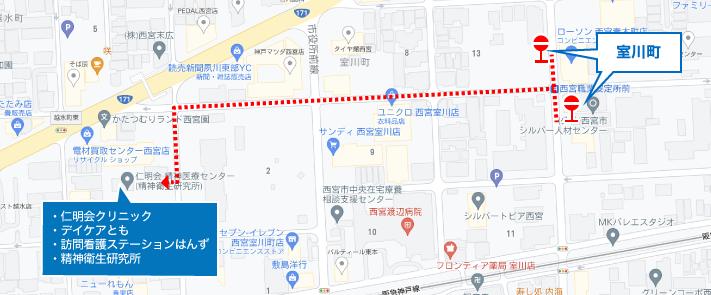 仁明会クリニック・デイケアとも・訪問看護ステーションはんず・精神衛生研究所 バス停周辺地図